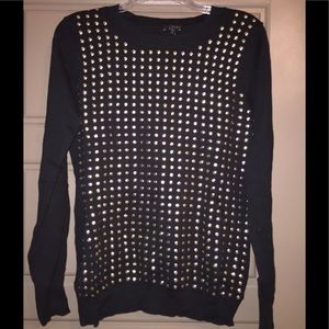 Express gold black studded holiday rock sweater
